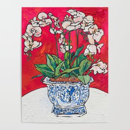 Orchid in Blue-and-white Bird Pot on Red after Matisse Poster