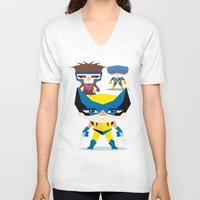 x men V-neck T-shirts featuring X Men fan art by danvinci