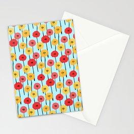Bright Sunny Mod Poppy Flower Pattern Stationery Cards