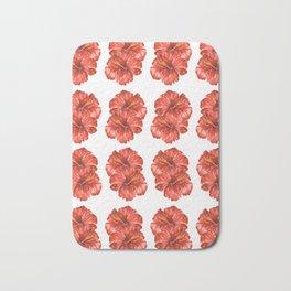 Watercolor Hibiscus Flowers Bath Mat