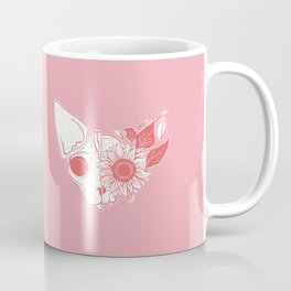 Millennial Pink and Coral Sunflower Sphynx Cat Skull - Hairless Kitty Floral Art Coffee Mug