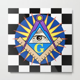 Masonic Square & Compass On Blue Disc Metal Print