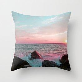 Pink and Blue Sunset Over Newport Rhode Island Throw Pillow