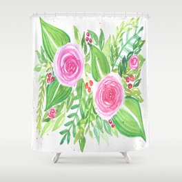 Spring Floral Pink Roses Green Leaves Watercolor Shower Curtain
