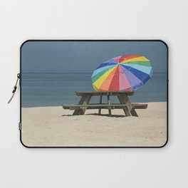 Summer Beach Photograph with Pinic Table and Umbrella Laptop Sleeve