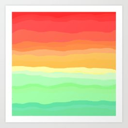 Rainbow - Cherry Red, Orange, Light Green Art Print