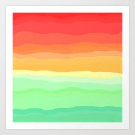 Rainbow - Cherry Red, Orange, Light Green Art Print
