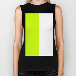 White and Fluorescent Yellow Vertical Halves Biker Tank