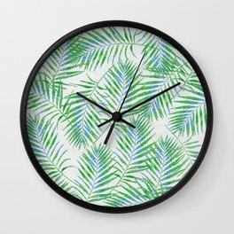 Fern Leaves Grey Wall Clock