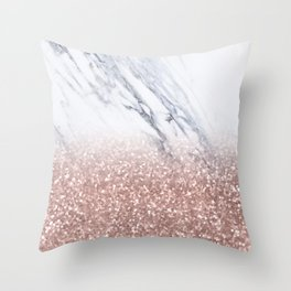 Rose Gold Glitter Marble Throw Pillow