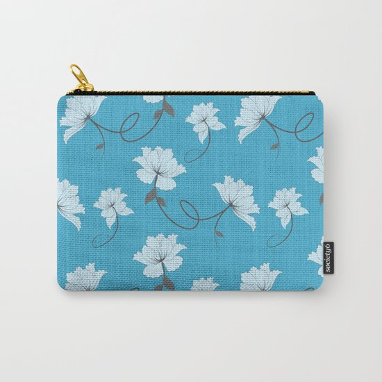 White Flowers on Blue background, floral pattern Carry-All Pouch