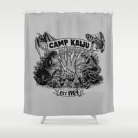 camp Shower Curtains featuring Camp Kaiju by Austin James