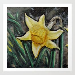 Grandma's Garden Series - Daffodil polymer clay painting Art Print