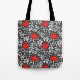 Art Nouveau Anemone, Gray / Grey and Red Tote Bag