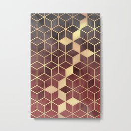 Gold Red Velvet Gradient cube Art print Metal Print