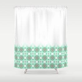 Kat Scratch Starburst Pattern • Mint & Taupe Shower Curtain