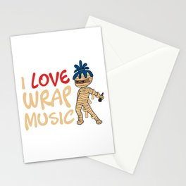 """I Love Music Wrap"" T-shirt Design Spooky Creepy Happy Halloween Scary Ghost October November Stationery Cards"