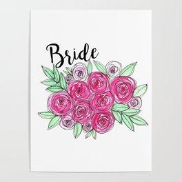 Bride Wedding Pink Roses Watercolor Poster