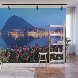 Tulips - Lake Lugano, Switzerland Landscape Photograph Wall Mural