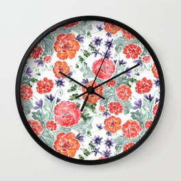 Floral pattern. Red, purple flowers on white. Wall Clock