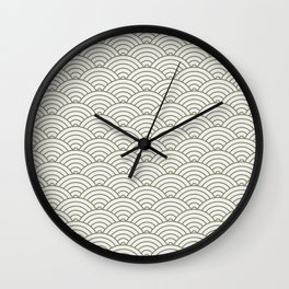 Japanese Waves Pattern Olive Wall Clock