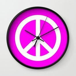 Peace (White & Magenta) Wall Clock