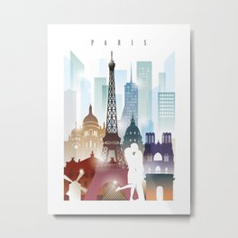 Paris city skyline, France Metal Print