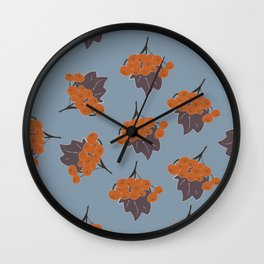 Seamless Pattern Of Rowan Spray, old traditional artistic style Wall Clock