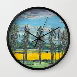 Yellow fields of the Loire Valley, France Wall Clock