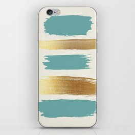 Brush Strokes (Teal/Gold) iPhone Skin