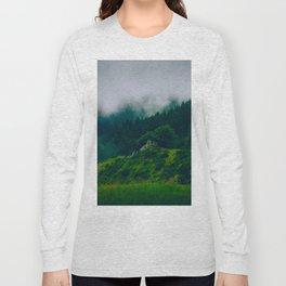 Moist Rainy Forest Pine Trees  Green Hills Long Sleeve T-shirt