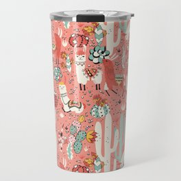 Lama in cactus jungles Travel Mug