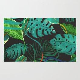 nigth tropical leaves Rug