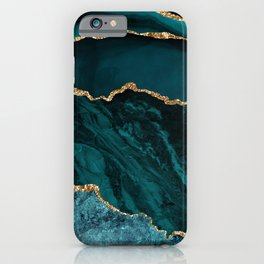 Teal & Gold Agate Texture 02 iPhone Case