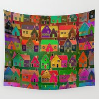 merry christmas Wall Tapestries featuring Merry Christmas! by Klara Acel