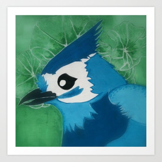 Titmouse in Blue Art Print