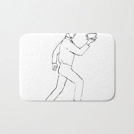 Retro Waiter Running Serving Coffee Drawing Bath Mat
