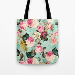 Vintage & Shabby Chic - Summer Teal Roses Flower Garden Tote Bag