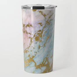 Unique Gold Pink and Turquoise Marble Design Travel Mug