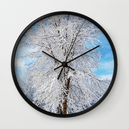 Snow Covered Tree Wall Clock