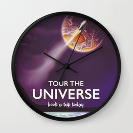 Tour the universe space travel poster Wall Clock