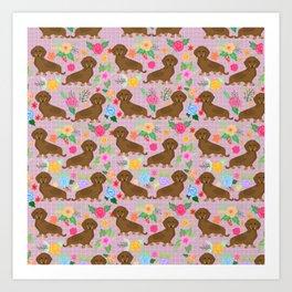 Floral daschhund Weiner dog pattern Art Print