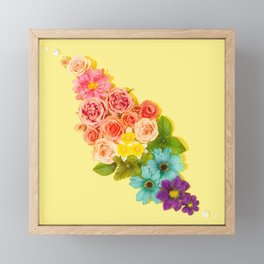 Rainbow Flowers Bouquet Framed Mini Art Print