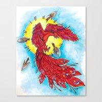 phoenix Canvas Prints featuring Phoenix by missfortunetattoo