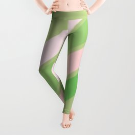 Pink, White and Shades of Green Stripes Leggings