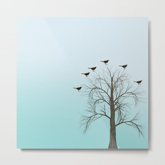 Tree with Birds Metal Print