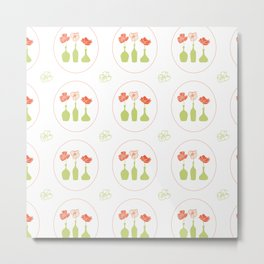 Poppy Pattern Collection - Trio of flowers Metal Print