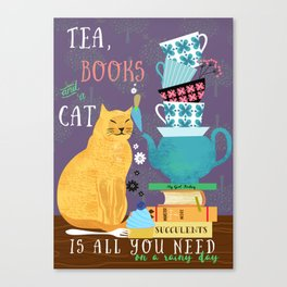 Tea, Books and Cats Canvas Print