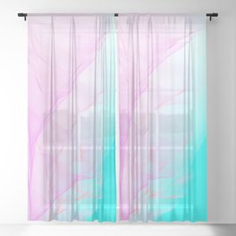 Pastel Motion Vibes - Pink & Turquoise #abstractart #homedecor Sheer Curtain