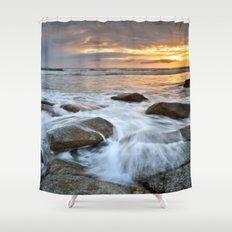 Stormy Shoreline ⛅ Sunset Shower Curtain